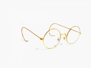 Gold Round Gandhi Shape Harry Potter Style With Curl Side Computer Glasses With Anti Glare Coating Medium Size