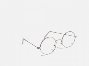 Silver Round Gandhi Shape Harry Potter Style Computer Glasses With Anti Glare Coating Small Size