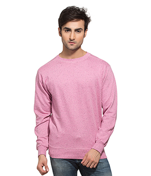 Clifton Mens Neppy Melange Sweat Shirt-Cool Pink-R-Neck AAA00021459