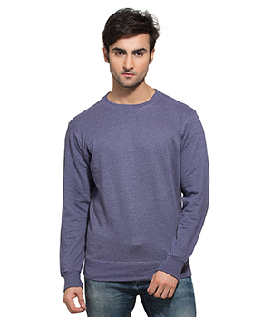 Clifton Mens Neppy Melange Sweat Shirt-Lavender-R-Neck AAA00021464