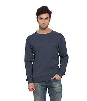 Clifton Mens Ribbed Sweat Shirt-Navy Melange-R-Neck AAA00021474