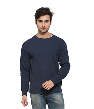 Clifton Mens Ribbed Sweat Shirt-Blue Melange-R-Neck AAA00021479