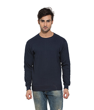 Clifton Mens Ribbed Sweat Shirt-Dark Navy-R-Neck AAA00021489