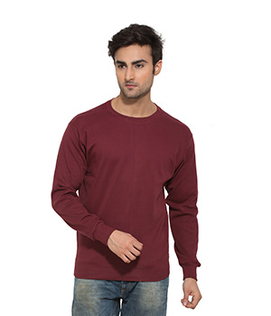 Clifton Mens Ribbed Sweat Shirt-Maroon-R-Neck AAA00021494