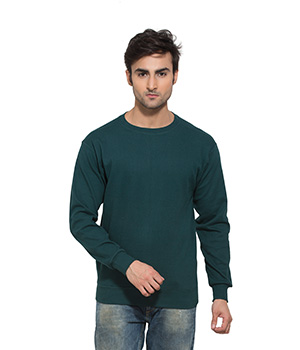 Clifton Mens Ribbed Sweat Shirt-Bottle Green-R-Neck AAA00021499