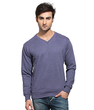 Clifton Mens Neppy Melange Sweat Shirt-Lavender-V-Neck AAA00021509