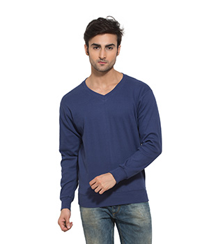 Clifton Mens Ribbed Sweat Shirt-Blue-V-Neck AAA00021514
