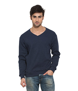 Clifton Mens Ribbed Sweat Shirt-Blue Melange-V-Neck AAA00021524