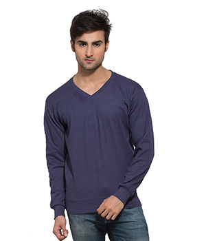 Clifton Mens Ribbed Sweat Shirt-Lavender-V-Neck AAA00021529