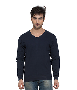 Clifton Mens Ribbed Sweat Shirt-Dark Navy-V-Neck AAA00021534