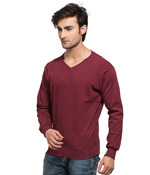 Clifton Mens Ribbed Sweat Shirt-Maroon-V-Neck AAA00021539