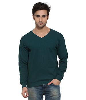 Clifton Mens Ribbed Sweat Shirt-Bottle Green-V-Neck AAA00021544