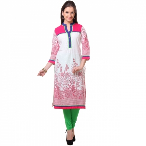 Varanga white and pink Chinese Collar Printed Kurti VARSS151072