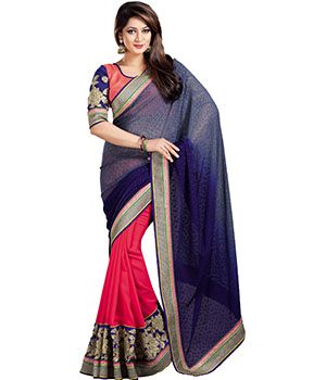 Indian E Fashion Blue Georgette Embroidery Stone Work Lace Design With Blouse Saree 1001SV1