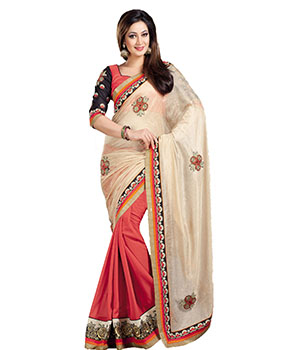 Indian E Fashion Multi Georgette Embroidery Stone Work Lace Design With Blouse Saree 1009SV1