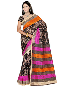 Indian E Fashion Multi-Coloured Bhagalpuri Saree Printed Design With Blouse Sariif1085 1085