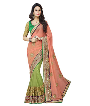 Indian E Fashion Pinkgreen Georgette Embroidery Stone Work Lace Design With Blouse Saree 2103