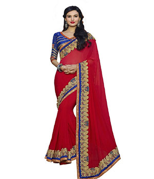 Indian E Fashion Red Georgette Embroidery Stone Work Lace Design With Blouse Saree 2112