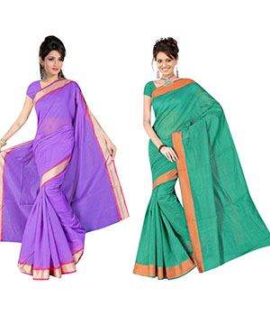 Indian E Fashion Poly Cotton Plaine Work With Brocade Blouse Saree 5033A5012