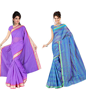 Indian E Fashion Poly Cotton Plaine Work With Brocade Blouse Saree 5033A5022