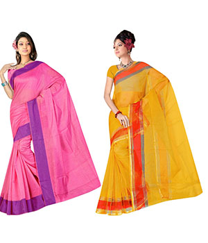 Indian E Fashion Poly Cotton Plaine Work With Brocade Blouse Saree 5035A5001