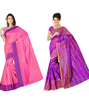 Indian E Fashion Poly Cotton Plaine Work With Brocade Blouse Saree 5035A5047