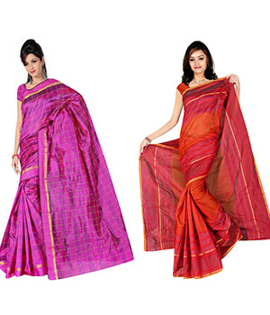 Indian E Fashion Poly Cotton Plaine Work With Brocade Blouse Saree 5038A5049