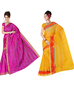 Indian E Fashion Poly Cotton Plaine Work With Brocade Blouse Saree 5039A5001