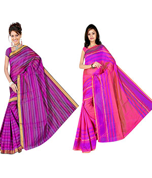 Indian E Fashion Poly Cotton Plaine Work With Brocade Blouse Saree 5040A5048