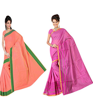 Indian E Fashion Poly Cotton Plaine Work With Brocade Blouse Saree 5043A5046