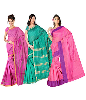 Indian E Fashion Poly Cotton Plaine Work With Brocade Blouse Saree 5046A5035A5041