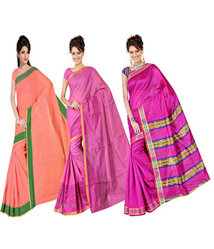 Indian E Fashion Poly Cotton Plaine Work With Brocade Blouse Saree 5046A5043A5016