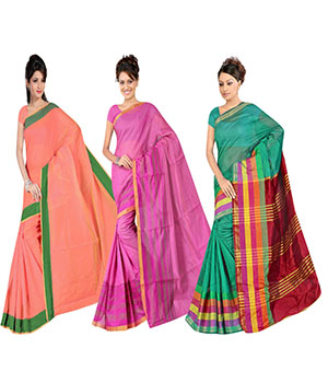 Indian E Fashion Poly Cotton Plaine Work With Brocade Blouse Saree 5046A5043A5034
