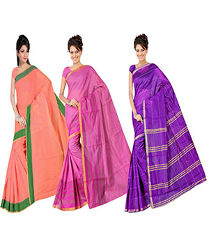 Indian E Fashion Poly Cotton Plaine Work With Brocade Blouse Saree 5046A5043A5044