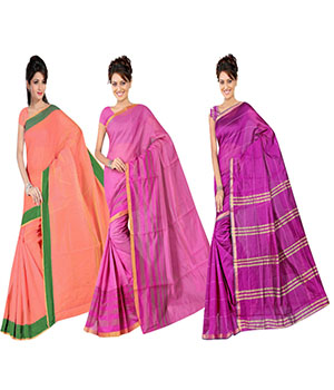 Indian E Fashion Poly Cotton Plaine Work With Brocade Blouse Saree 5046A5043A5045