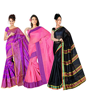 Indian E Fashion Poly Cotton Plaine Work With Brocade Blouse Saree 5047A5035A5025