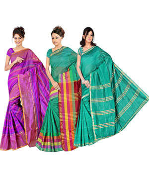 Indian E Fashion Poly Cotton Plaine Work With Brocade Blouse Saree 5047A5038A5041