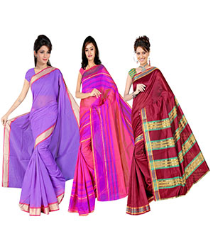 Indian E Fashion Poly Cotton Plaine Work With Brocade Blouse Saree 5048A5033A5015