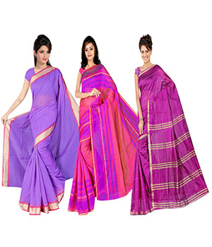 Indian E Fashion Poly Cotton Plaine Work With Brocade Blouse Saree 5048A5033A5045