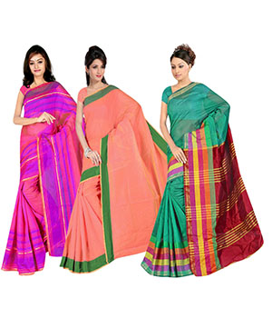 Indian E Fashion Poly Cotton Plaine Work With Brocade Blouse Saree 5048A5043A5034