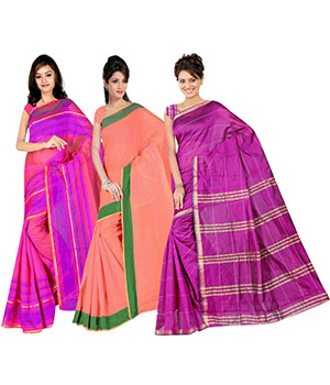 Indian E Fashion Poly Cotton Plaine Work With Brocade Blouse Saree 5048A5043A5045