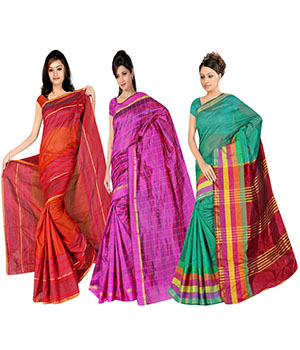 Indian E Fashion Poly Cotton Plaine Work With Brocade Blouse Saree 5049A5038A5034
