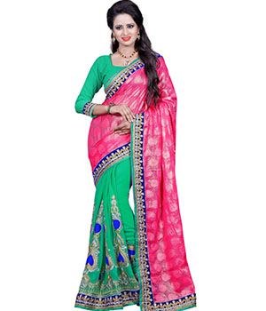 Indian E Fashion Faux Georgette Jaquard Pink Green Embroidery Designer Saree With Blousebf1001B BF1001B