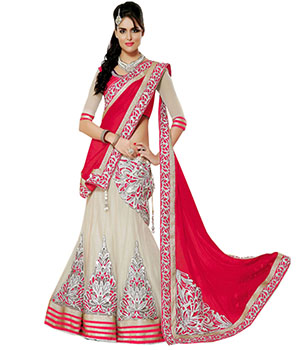 Indian E Fashion Red Net Embroidary Work With Brocade Blouse Lahenga Sareec 3306C