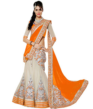 Indian E Fashion Orange Net Embroidary Work With Brocade Blouse Lahenga Sareeh 3306H