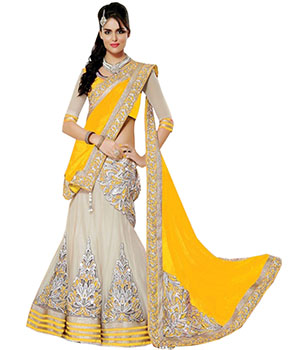 Indian E Fashion Yellow Net Embroidary Work With Brocade Blouse Lahenga Sareef 3306I