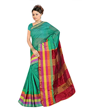 Indian E Fashion Green Poly Cotton Plaine Work With Brocade Blouse Sareeif5034 IF5034