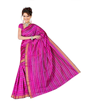 Indian E Fashion Pink Poly Cotton Plaine Work With Brocade Blouse Sareeif5039 IF5039