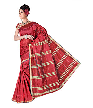 Indian E Fashion Red Poly Cotton Plaine Work With Brocade Blouse Sareeif5042 IF5042