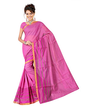 Indian E Fashion Pink Poly Cotton Plaine Work With Brocade Blouse Sareeif5046 IF5046